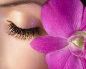 Woman eye with extremely long eyelashes and pink flower