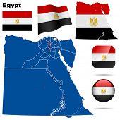 Постер, плакат: Египет векторный набор Подробные страны форму с границ региона флажки и значки изолированные на белом обратно