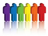 picture of people icon  - Vector image of people icons in a rainbow of colors - JPG