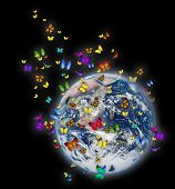pic of world-globe  - Colorful butterflies flying around a glowing earth - JPG