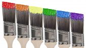 stock photo of paint brush  - Six paint brushes with colors of the rainbow - JPG