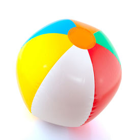 stock photo of beach-ball  - colorful floating beach ball isolated over white - JPG
