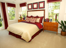 picture of master bedroom  - Elegant master bedroom in shades of red - JPG
