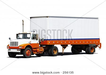 Picture or Photo of A delivery vehicle with lots of space for your text on trailer