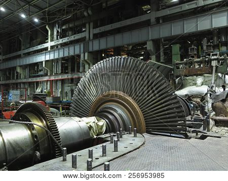 Disassembled Steam Turbine In The