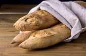 Tasty Crusty Baguettes On Wooden Background Tasty Homemade Bread Copy Space poster