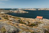 Sea Landscape Of Rocky Coastline On The South Of Sweden. Southern Coastline Of Sweden With View At R poster