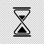 Hourglass, Simple Icon. On Transparent Background. Black Object poster