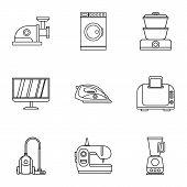 Home Appliances Icons Set. Outline Illustration Of 9 Home Appliances Icons For Web poster