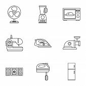 Appliances Icons Set. Outline Illustration Of 9 Appliances Icons For Web poster