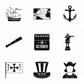 Discovery Of America Icons Set. Simple Illustration Of 9 Discovery Of America Icons For Web poster