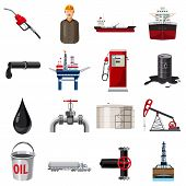 Oil Production Icons Set. Cartoon Illustration Of 16 Oil Production Icons For Web poster
