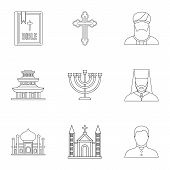Religion Icons Set. Outline Illustration Of 9 Religion Icons For Web poster