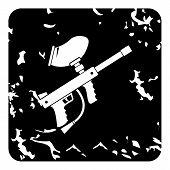Gun For Paintball Icon. Grunge Illustration Of Gun For Paintball Icon For Web poster