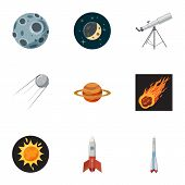 Galaxy Icons Set. Cartoon Illustration Of 9 Galaxy Icons For Web poster