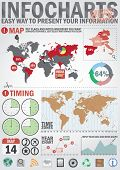 Infochart creative pack. Easy assembling elements for presentation and graph. Including world map, t