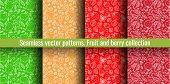 Seamless Pattern Set. Fruit And Berry Collection. Strawberry, Apple, Pear, Garnet, Pomegranate. Hand poster