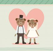 Wedding Couple Holding Hand. Two Lovely Bears in Retro Style. Just Married.