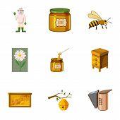 Honey Production Icons Set. Cartoon Illustration Of 9 Honey Production Icons For Web poster