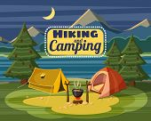 Camping Concept. Cartoon Illustration Of Camping Concept For Web poster