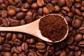 Ground Coffee In A Wooden Spoon. Ground Coffee In A Spoon On The Background Of Whole Coffee Beans. poster