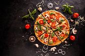 Tasty Pizza With Cherries, Onions And Mushrooms On A Black Background poster