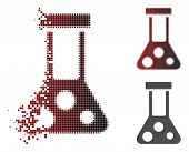 Chemical Flask Icon In Dispersed, Pixelated Halftone And Undamaged Solid Variants. Particles Are Arr poster