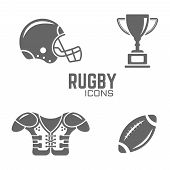 American Football Vector Black Icons Isolated On White Background, Rugby Icons, Rugby Ball Icon, Rug poster