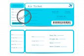 stock photo of boarding pass  - illustration of front and back part of flight ticket - JPG