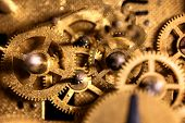 Details Of A Analogous Clockwork, Concept Work And Business, Golden Background poster