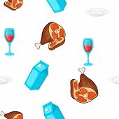 Calorie Food Pattern. Cartoon Illustration Of Calorie Food Pattern For Web poster