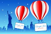 illustration of hot air balloon flying on american city new york with statue of liberty in backgroun