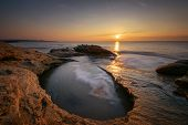 Seascape During Sunrise. Beautiful Natural Seascape. Sea Sunrise At The Black Sea Coast. Magnificent poster