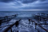 Seascape During Sunset. Beautiful Natural Seascape, Blue Hour. Sea Sunset At The Black Sea Coast. Ma poster