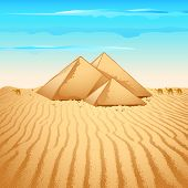 picture of saharan  - illustration of pyramid structure on lonely desert - JPG