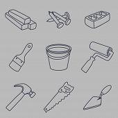Building Materials And Instruments Black Lineart. Instruments Set. Tools Set. poster