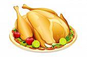 picture of fruit platter  - illustration of roasted holiday turkey on platter with garnish - JPG