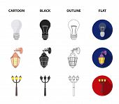 Led Light, Street Lamp, Match.light Source Set Collection Icons In Cartoon, Black, Outline, Flat Sty poster