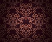 Damask seamless pattern on dark background. Could be used as repeating wallpaper, textile, wrapping