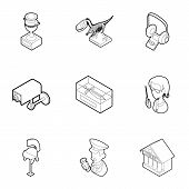 Items In Museum Icons Set. Outline Illustration Of 9 Items In Museum Icons For Web poster