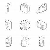 Kitchen Electronic Appliances Icons Set. Outline Illustration Of 9 Kitchen Electronic Appliances Ico poster