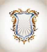 Blue metal and bronze shield, all elements on separate layers and easily editable. Linear and radial