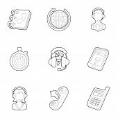 Online Consultation Icons Set. Outline Illustration Of 9 Online Consultation Icons For Web poster
