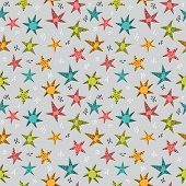 Cute Tribal Seamless Pattern With Hand Drawn Stars For Kids. Texture For Fabric Or Wrapping Paper. T poster