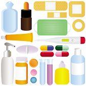 stock photo of paracetamol  - Cute vector icons - JPG