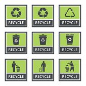Recycle Icons And Recycling Signs Set, Trash Symbol poster