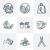 Ecology Icons Line Style Set With Eco Food, Flower Seed, Flower Basket And Other Drop Elements. Isol poster