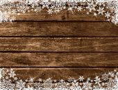 Wooden Brown Christmas Background With White Snowflakes, Vector Illustration poster