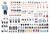 Young Teenage Boy Diy Kit. Set Of Teenagers Body Parts In Different Positions, Various Subcultures poster