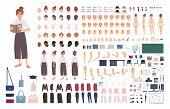 Female School Teacher Creation Kit Or Diy Set. Bundle Of Womans Body Elements, Postures, Gestures,  poster
